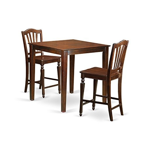 East West Furniture VNCH3-MAH-W 3 Piece Counter Height Pub Table and 2 Dinette Chairs Set