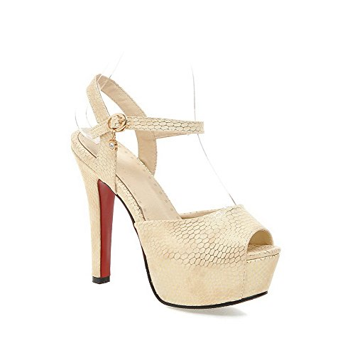 AllhqFashion Women's High-Heels Soft Material Checkered Buckle Peep Toe Sandals Beige ooe4E