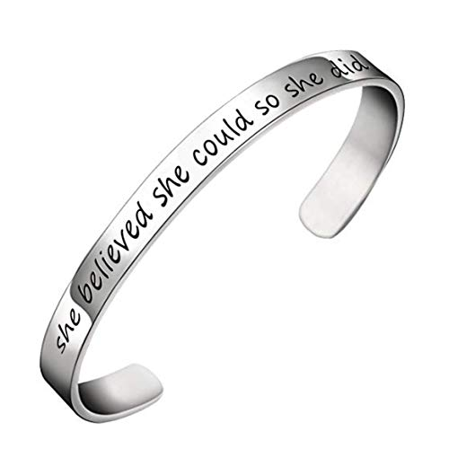 YOYONY Classic Sterling Silver She Believed she Could so she did Inspired Hand Stamped Expandable Cuff Bracelet (She Believed She Could So She Did Meaning)