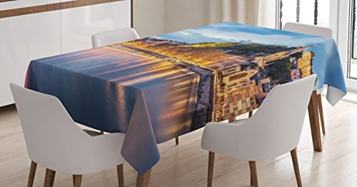 Ambesonne European Tablecloth, View of Saone River in Lyon City at Evening France Blue Hour Historic Buildings, Dining Room Kitchen Rectangular Table Cover, 60 W X 84 L inches, Multicolor -