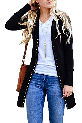 Womens Long Sleeve Snap Button Down Solid Color Knit Ribbed Neckline Cardigans
