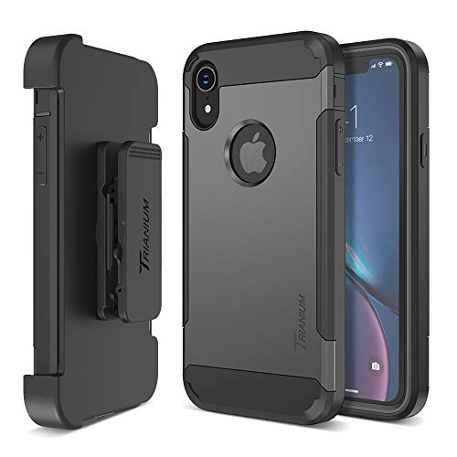 Trianium Holster Case Designed for iPhone XR [Duranium Series] w/Rotating Belt Clip + Kickstand [Heavy Duty Protection], Scratch Resistant/Shock Absorption for iPhone XR (6.1) 2018 - Gunmetal