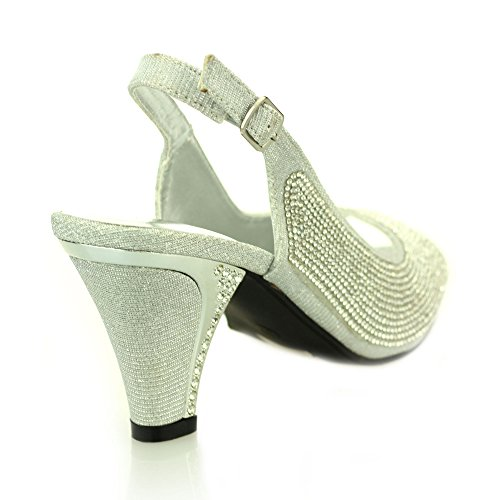 Mujer Señoras noche kitten-heel peep toe diamante boda party sandalia zapatos tamaño (Oro, Plata, Negro) Plata