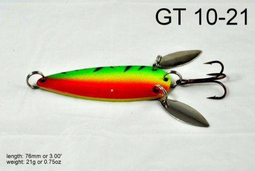 Akuna [GT 10] 3-Inch Casting Spoon Fishing Lure for Northern Pike, Salmon, Walleye and Largemouth Bass, Firetiger, Two of One Color