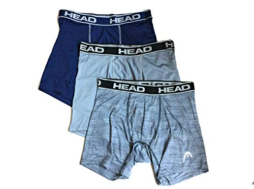 HEAD Mens Performance Boxer Briefs - 3 Pack of Athletic Fit Tag Free Breathable Underwear Athletic Fit Tag Free Breathable, Navy/Light Heather/Dark Heather, Medium - Head Boxer