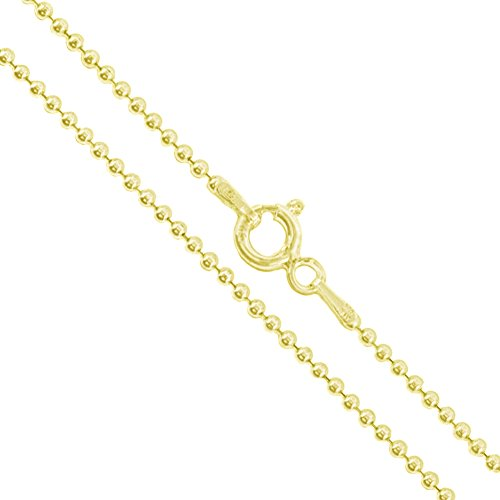 22k Yellow Gold Plated Sterling Silver Ball Bead Chain 1.5mm 925 New Dog Tag Necklace ()