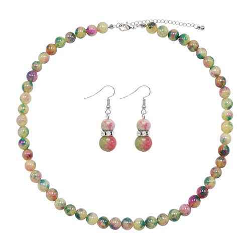 Colorose Gemstone Bead Necklace for Women Green Yellow Pink Natural Beads Strand Necklace and Earring Set