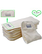 "Bamboo Cloth Diaper Inserts Super Absorbent Soft and Reusable Liners 4 Layers 12 Pieces 14""5"""