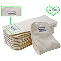 """Bamboo Cloth Diaper Inserts Super Absorbent Soft and Reusable Liners 4 Layers 12 Pieces 14""""5"""""""