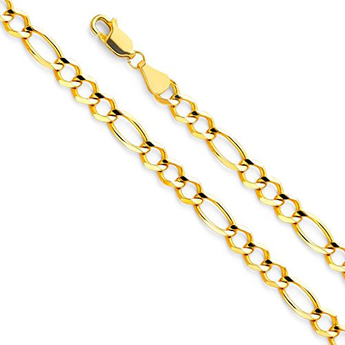Wellingsale 14k Yellow Gold SOLID 5.5mm Polished Figaro 3+1 Open Chain Bracelet - 8