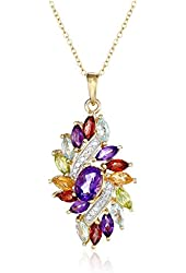 18k Yellow Gold-Plated Sterling Silver Diamond and Multi-Gemstone Cluster Pendant Necklace (0.01cttw)