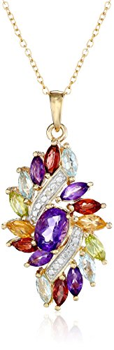 18k Yellow Gold Plated Sterling Silver Genuine Multi Gemstone and Diamond Accent Cluster Pendant Necklace, 18
