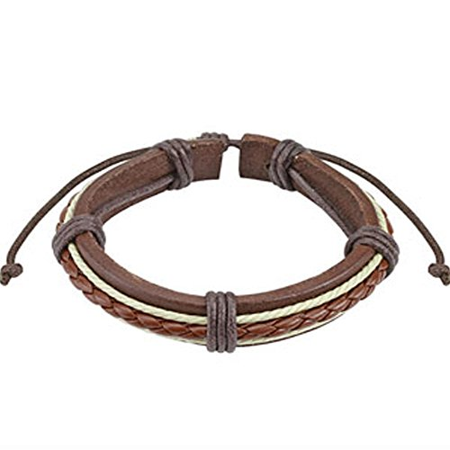 Brown Braided Rope Leather Bracelet with Drawstrings, Adjustable Size by Sliding Tie-Knot Closure and One Size Fits Most (Extends upto 10