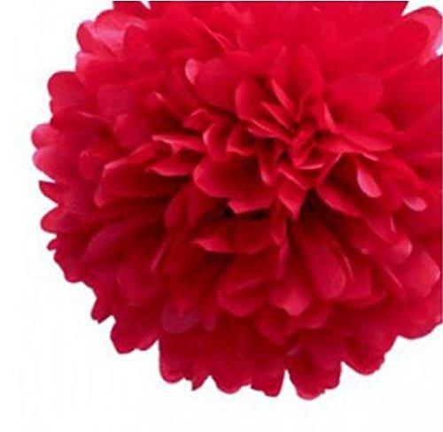 Exsiveme 10PCS velina Ball pom-pom fiori matrimonio decorazione, rosso