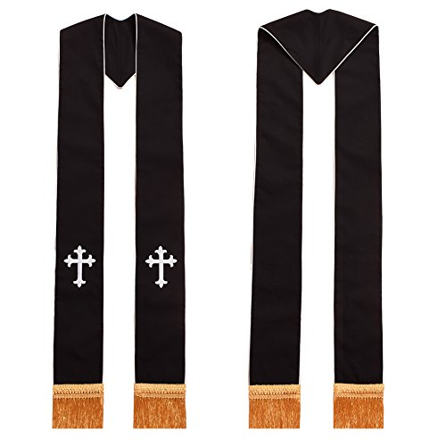 Liturgical Vestments (BLESSUME Clergy Black Stole Cross Embroidered 1pc)