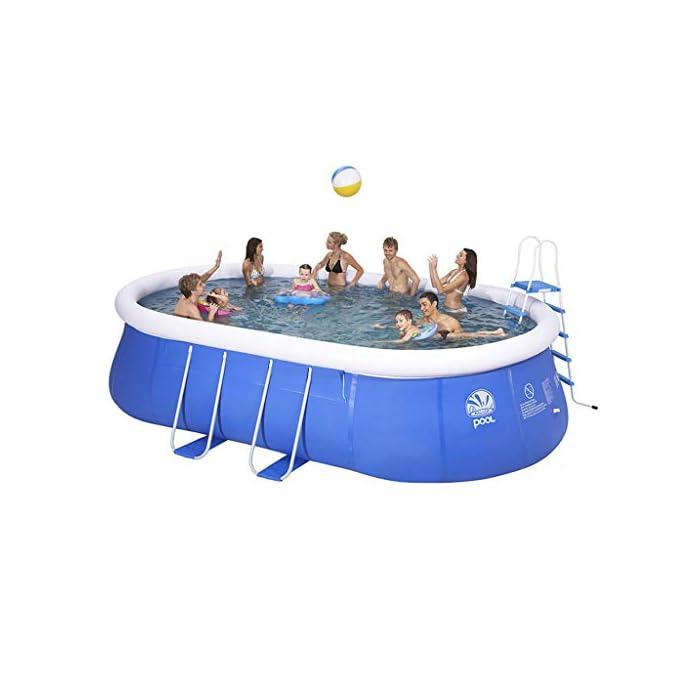 41HMiqRznOL - La piscina está hecha de PVC respetuoso con el medio ambiente y material de red de clip de tres capas para formar un todo sólido, y la estructura de la rejilla de tuberías hace que la piscina sea más estable. - Piscina privada en el jardín trasero, puede jugar con sus familiares / amigos / compañeros de clase durante las vacaciones, para que pueda divertirse en el verano .. - Esta piscina es fácil de montar y almacenar. No importa a donde te muevas, puede acompañarte, la luz y en casa ..