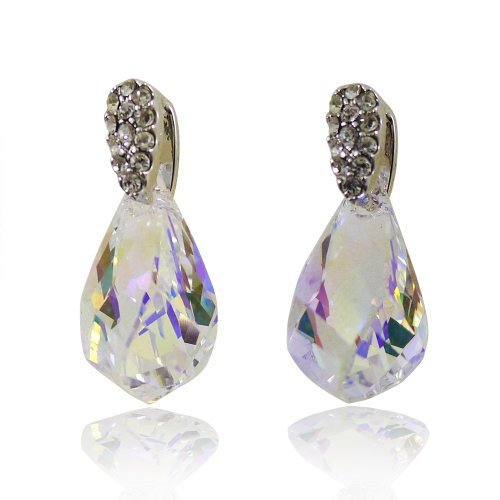 Bijoux De Ja Rhodium Plated Base Pear Shape Austrian Crystal Drop Stud (Fashion History Costume Trends And Eras)