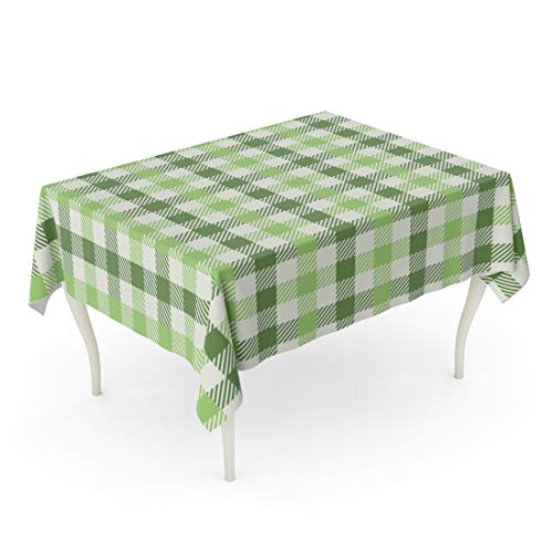 Tarolo Rectangle Tablecloth 60 x 102 Inch Purple Plaid Earthy Green Gingham Pattern Sage Abstract Celebration Check Checkered Table Cloth ()