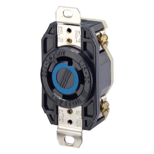 Leviton 2720 30 Amp, 250 Volt 3-Phase, Flush Mounting Locking Receptacle, Industrial Grade, Grounding, V-0-MAX, Black