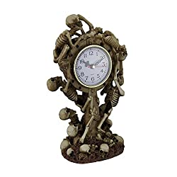 Zeckos Resin Table Clocks Time to Rise Climbing Skeletons Decorative Tabletop Clock 6 X 11 X 4 Inches Tan