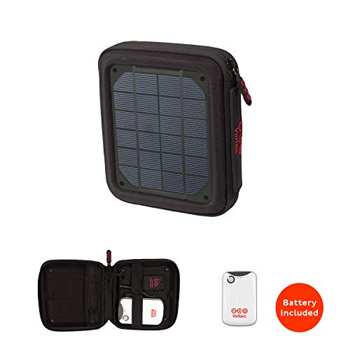 Voltaic Systems Amp Portable Rapid Solar Charger with Battery Pack (Power Bank) 4,000mAh & 2 Year Warranty | Powers Phones Compatible with iPhone, Tablets, USB, More | Waterproof - Charcoal ()