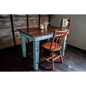 Dining Kitchen Nook Farmhouse Table - Solid Wood - Sugar Mtn Woodworks - Distressed Blue, Dark Wood Top, Work Computer…