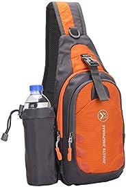 Sling Backpack Wear Resistant Waterproof Shoulder Chest Pack Crossbody Bag with Detachable Water Bottle Holder