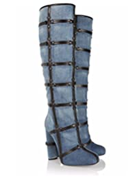 Women 's European Cowboy Pump Hand Knee Boots