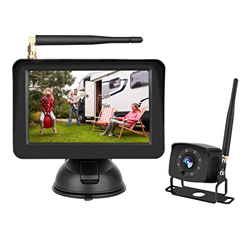 Carmour Premium Wireless Backup Camera & Monitor Kit. Improved Safety and Clear Image 5″ Monitor & Rear View Camera for Car, Truck, Tractor Trailer, RV, Boat
