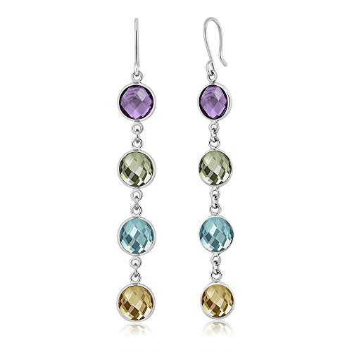 - Gem Stone King 12.00 Ct Checkerboard 8mm Multi-Gemstone 925 Silver Dangle Earrings