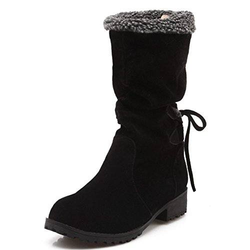 Women's up Mid Faux Black Fur Lace Boots Toe calf Pointed Decostain ZwIqdZ