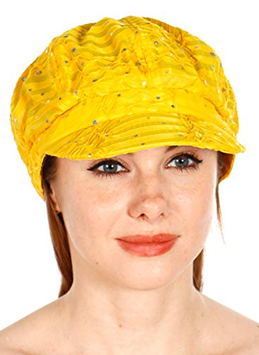 Sequin newboy Cabbie hat with Visor, for Women, Summer Gatsby Cap, Chemo hat Yellow ()