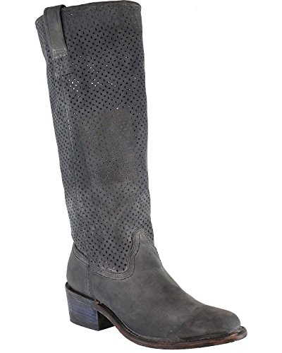 Corral Womens Cut Out Tall Top Boot Round Teen - A3384 Zwart