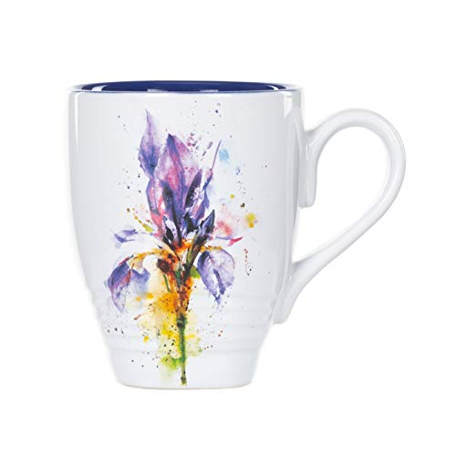 Beautiful Purple Iris - Iris Watercolor Purple On White 16 Ounce Glossy Stoneware Mug With Handle