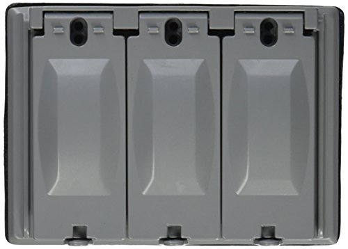 Morris Products Electrical Weatherproof Cover - 3-Gangs, 125 Device Configurations - Multi-Use, Grey, Heavy Duty Hinges, Aluminum Die Cast - Lockable Latching Tab - Pre-Installed Gasket - 1 Count
