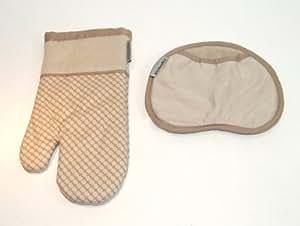 Kitchenaid pot holder and oven mitt set tan home kitchen - Kitchenaid oven gloves ...