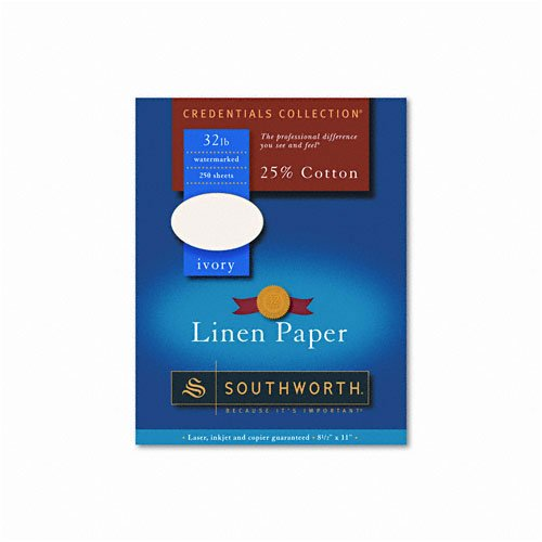 - Southworth : Credentials Collection Fine Linen Paper, Ivory, Letter, 250 Sheets per Box -:- Sold as 2 Packs of - 250 - / - Total of 500 Each