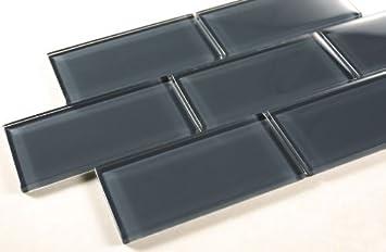 Dark Slate 3x6 Grey Color Glass Tile Bathroom Tile Kitchen Backsplash Tile