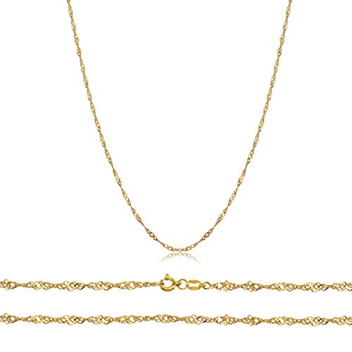 Orostar Solid 14K Yellow Gold 1mm Sturdy Singapore Chain - 16
