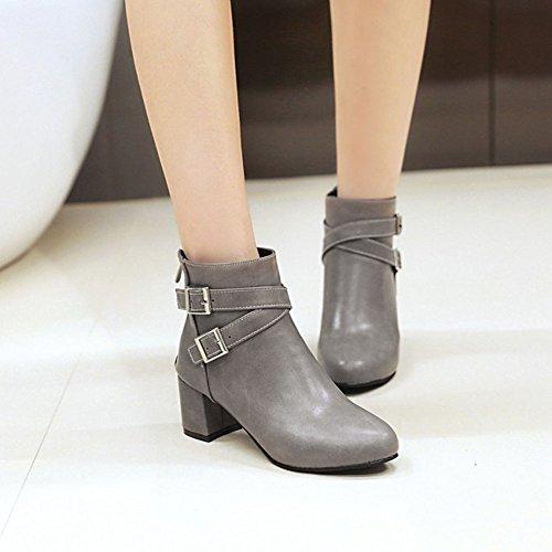 Women Ankle Fashion Leather Boots Martin Chelsea Heel Zip Boots Boots Casual Ladies Short Grey Block Low Wealsex HFwdTH