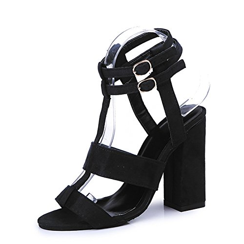 Suede Work Black Juqilu Sandal Evening Strap Block Office Sandals Strappy High Party Heel Ladies Ankle Womens Shoes wPqParx6SY