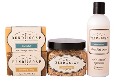 (Bend Soap Company All Natural Best for Eczema Bundle - Help Relieve Signs of Eczema, Psoriasis and Itchy Dry Skin Naturally with Goat Milk Based Products - Bar Soap, Bath Soak and Lotion)