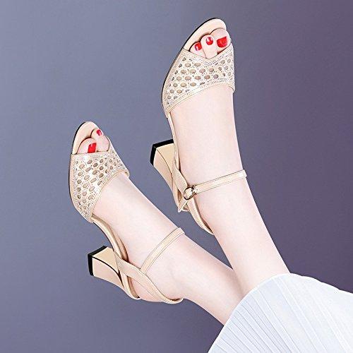 HUAIHAIZ mujer Pescado Tacones agua altosBoca tacón de de perforación sandalias Champagne zapatos de Color de de rtrqznwORd