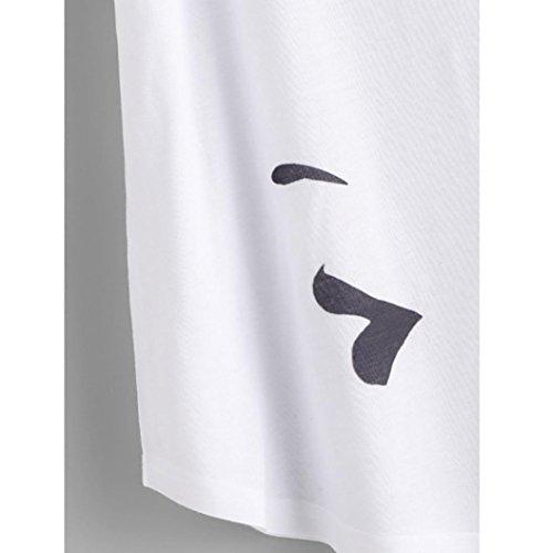 Rcool Donna corte shirt femminile a Sexy Bianco fronte con maniche T Camicetta stampa Swqgdxw