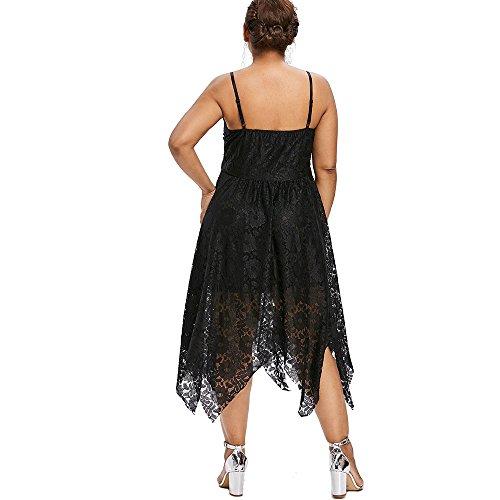 Charmma Les Dames Plus La Taille Des Manches Fines Bretelles Lacer Robe Mouchoir Noir