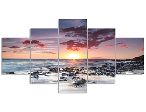 Fresh Look color 5 piece wall Art painting dusk seaside Sunset