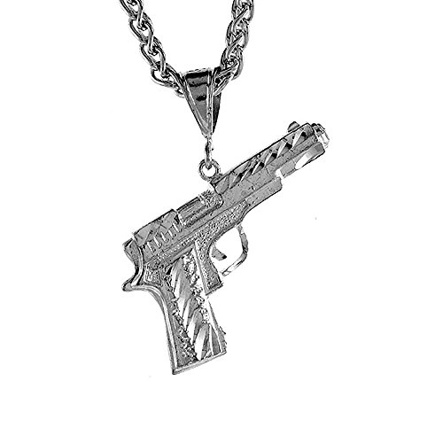 Sterling Silver Small Colt 45 Pistol Pendant, 1 1/2 inch tall