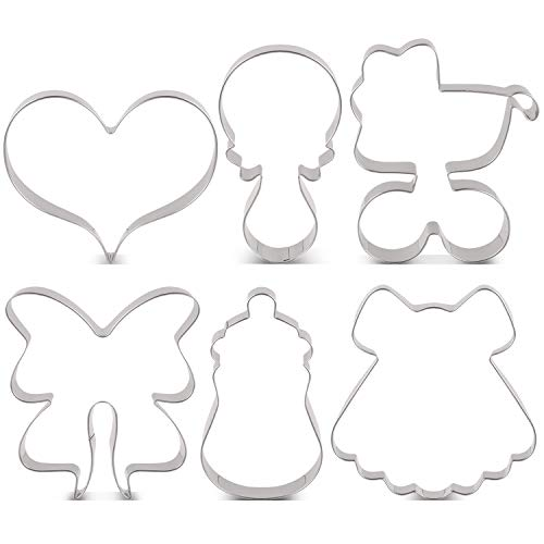 LILIAO Baby Shower Cookie Cutter Set - 6 Piece - Feeding Bottle, Rattle, Heart, Baby Carriage, Princess Dress and Bow/Ribbon Biscuit Fondant Cutters - Stainless Steel