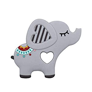 JYC Store Elephent Baby Teether Silicone Soother Pacifier Chewable Teething Toy Pendant