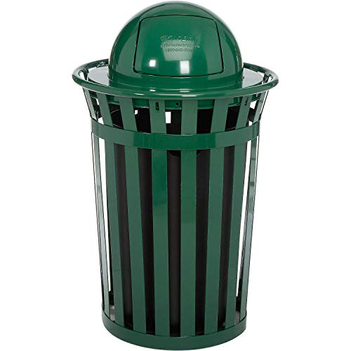 Global Industrial 36 Gallon Outdoor Metal Slatted Trash Receptacle with Dome Lid, Green, Lot of 1 (Trash Receptacle Dome Lid)